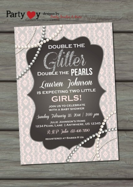 Twins Baby Shower Invitation, Glitter And Pearls Baby Shower