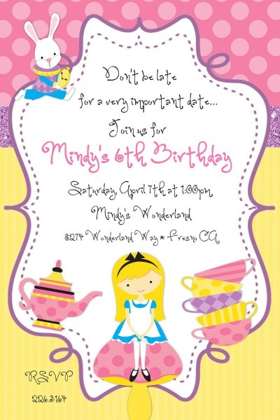Alice In Wonderland Tea Party Invitations