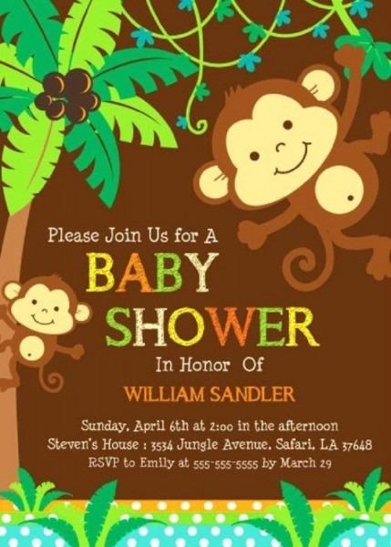 Free Printable Monkey Baby Shower Invitations