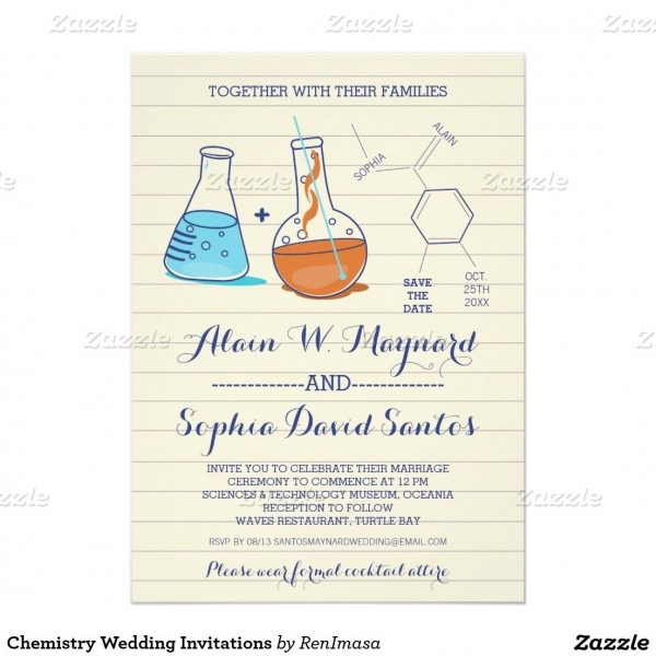 Blue And Orange Chemistry Wedding Invitations