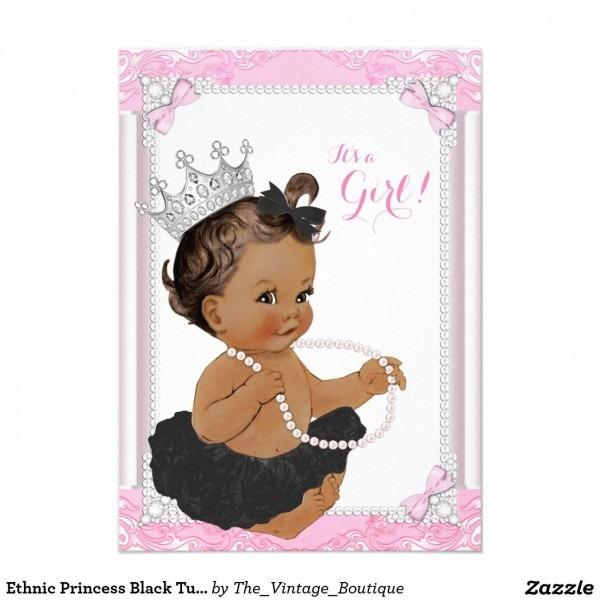 Ethnic Princess Black Tutu Lace Pearl Baby Shower Invitation