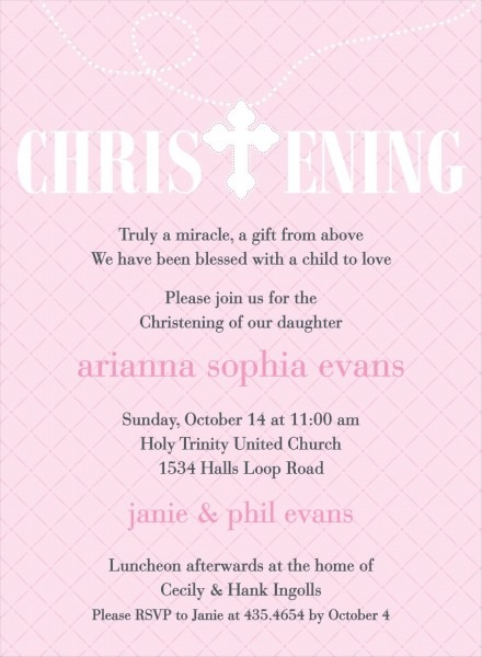 Hatch Pattern Pink Christening Invitations By Noteworthy