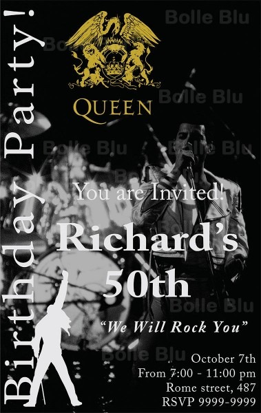 Queen Band Invitation We Will Rock You Digital Customizable