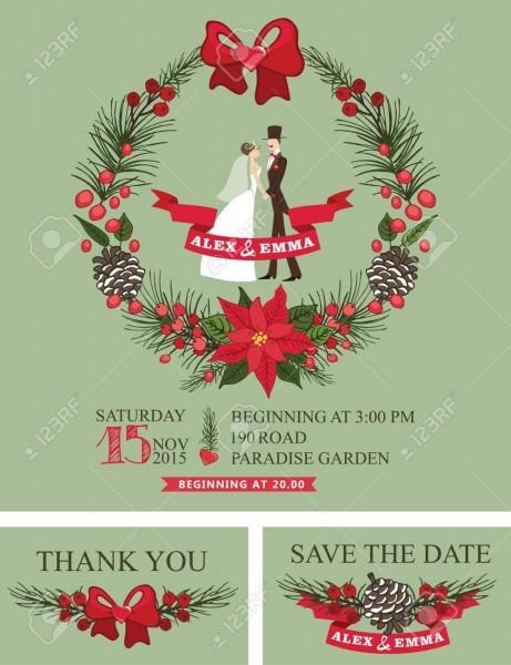 Winter Wedding Invitation Retro Bride,groom,christmas Wreath