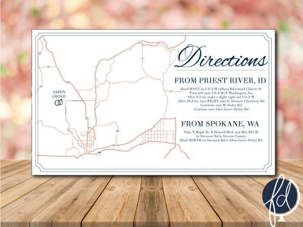 Directions Card, Custom Wedding Map, Details Card, Invitation Map