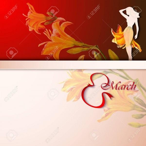 Spring Flowers Invitation Template Card  International Womens
