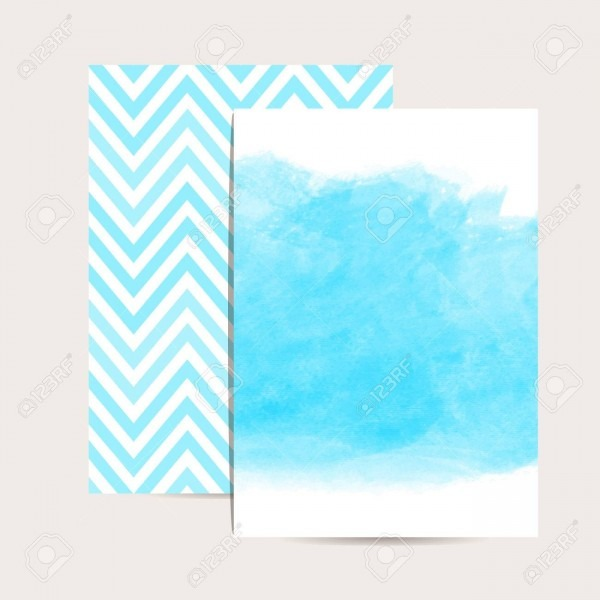 Abstract Background  Watercolor Art  Set Of 2 Blue Invitation