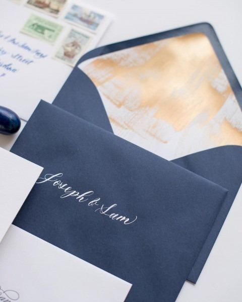 Hand Painted Envelope Liner With White Calligraphy On Navy