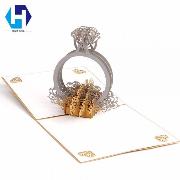 3d Pop Up Wedding Invitations Diamond Ring Greeting Card Laser Cut