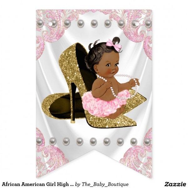 African American Girl High Heel Shoe Baby Shower Bunting Flags