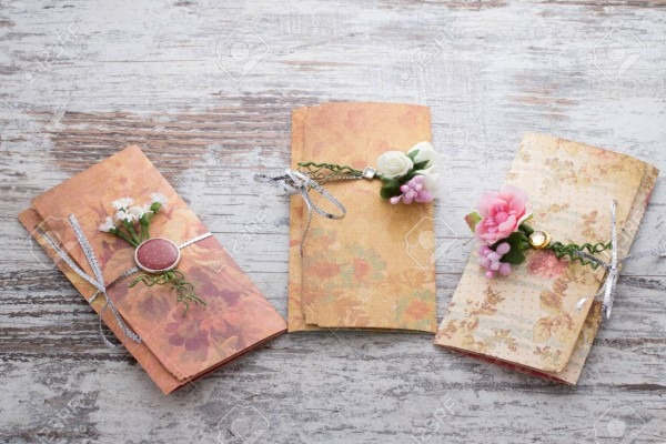 Handmade Wedding Invitations Made Of Paper Pver Wooden Vintage
