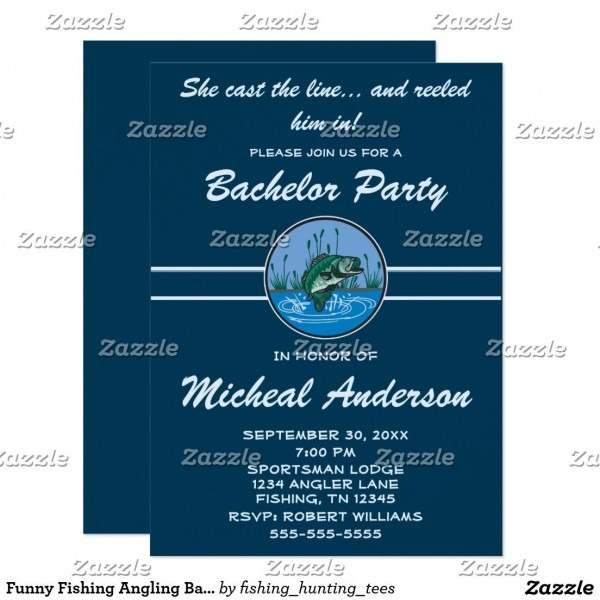Funny Fishing Angling Bachelor Party Celebration Invitation