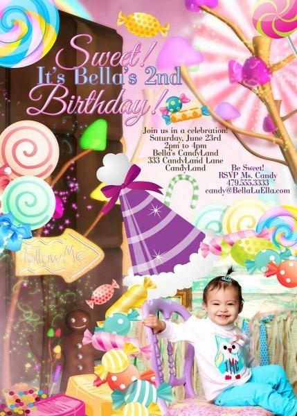 Photo Card, Candy Land Photo Invitation, Birthday Party