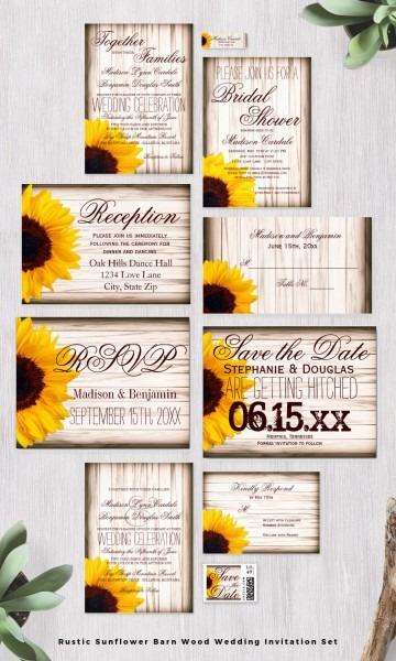 Rustic Country Sunflower Barn Wood Wedding Invitation Set