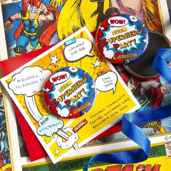 Superhero Party Invitations With Fridge Magnet