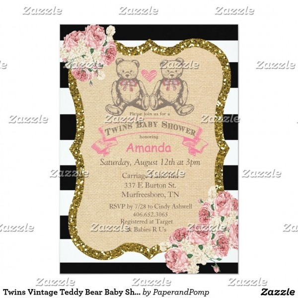 Twins Vintage Teddy Bear Baby Shower Invitation