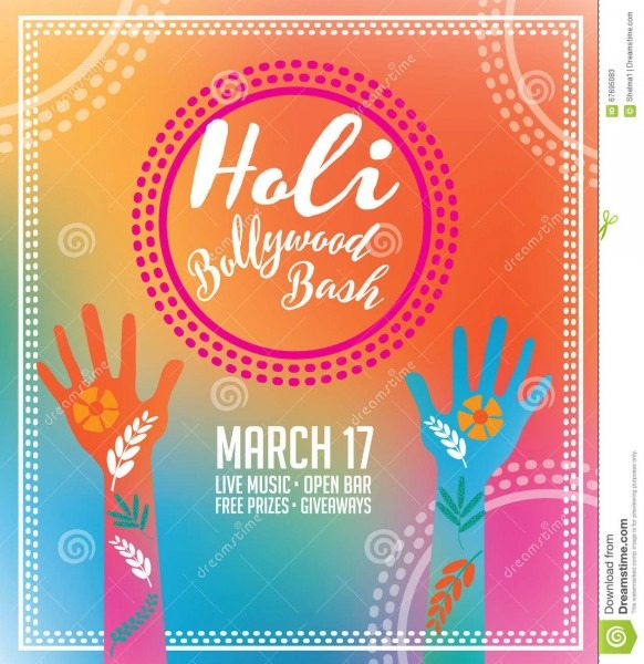 Holi Party Invitation Poster Greeting Card Design