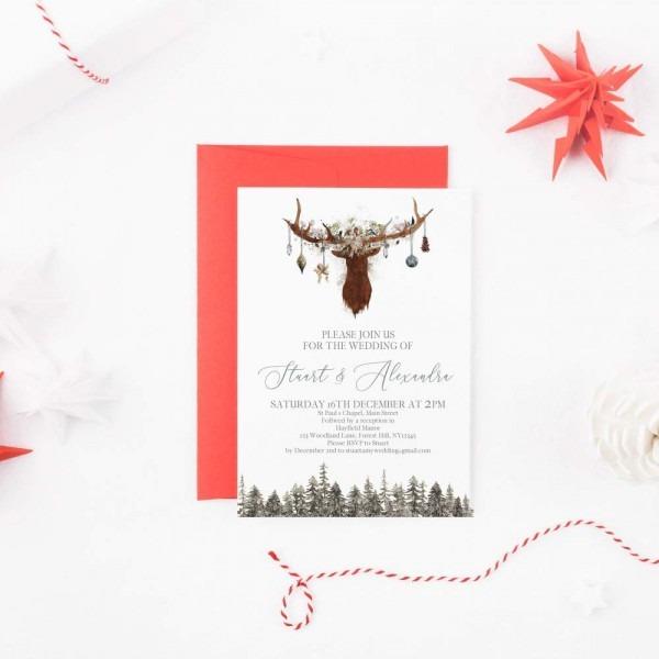 Amazon Com  Rustic Christmas Wedding Invitations, Christmas