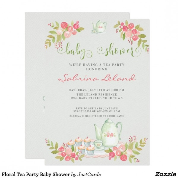 Floral Tea Party Baby Shower Invitation