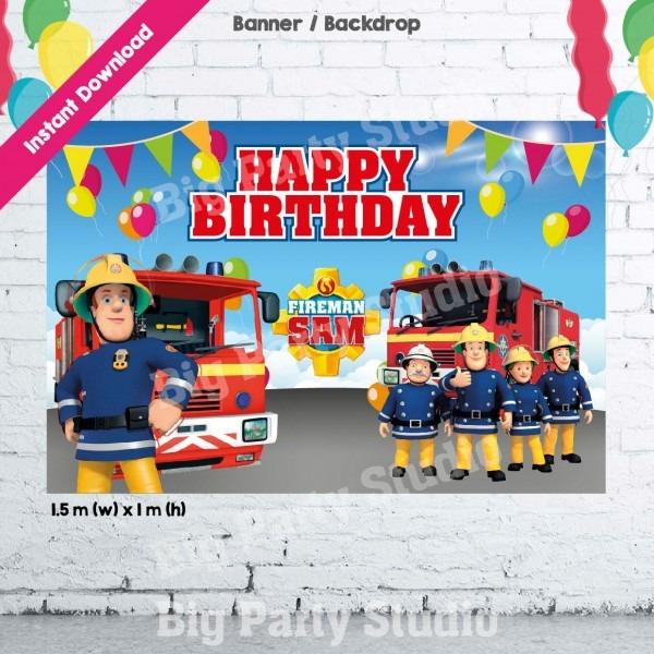 1  Fireman Sam Banner, Fireman Sam Happy Birthday Backdrop