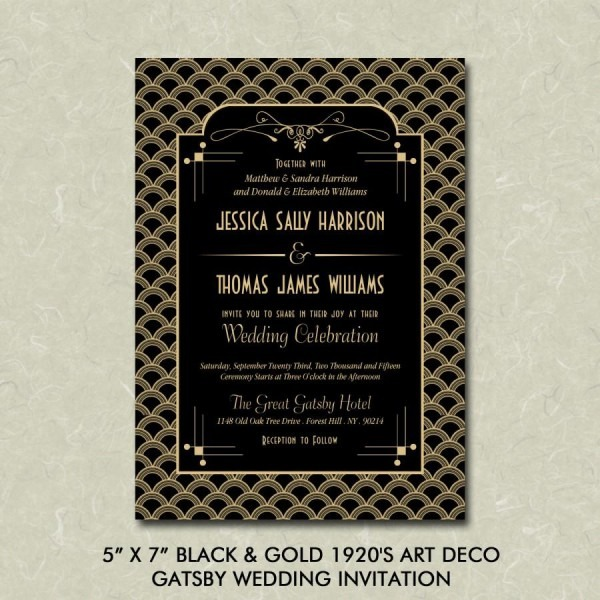 "5"" X 7"" Black & Gold 1920's Art Deco Gatsby Wedding Invitation"