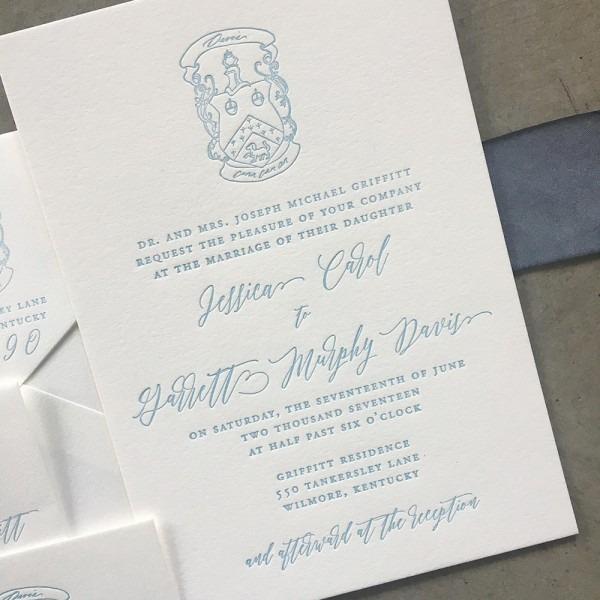 Custom Crest Letterpress Wedding Invitation Suite