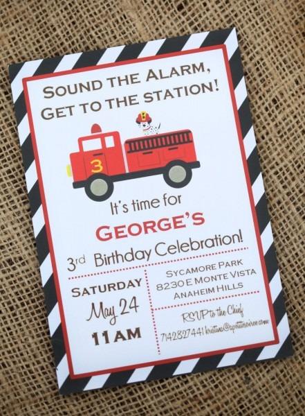 Firetruck Truck Birthday Invitation Diy Custom By Apetitesoiree