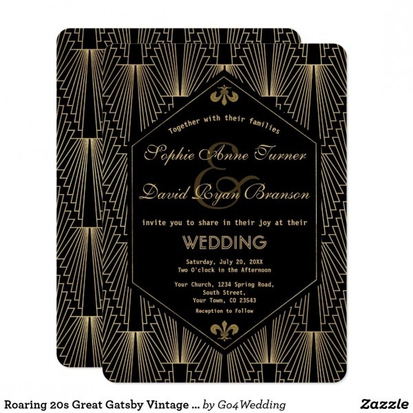 Roaring 20s Great Gatsby Vintage Art Deco Wedding Invitation