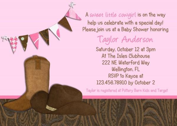 Little Cowgirl Western Baby Shower Invitation