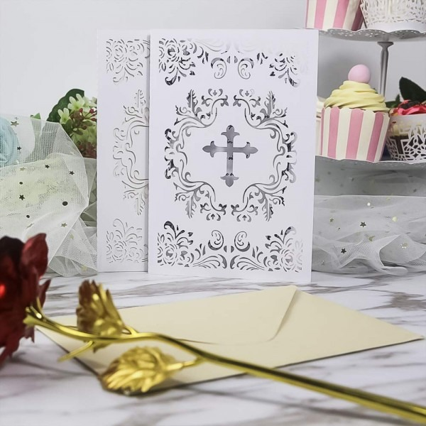 Amazon Com  25pcs Elegant Baptism Invitations, Large 4 7 X 7 Cards