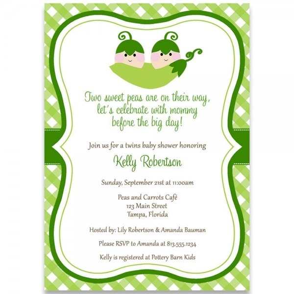 Amazon Com  Sweet Pea, Twins, Baby Shower Invitation, Green