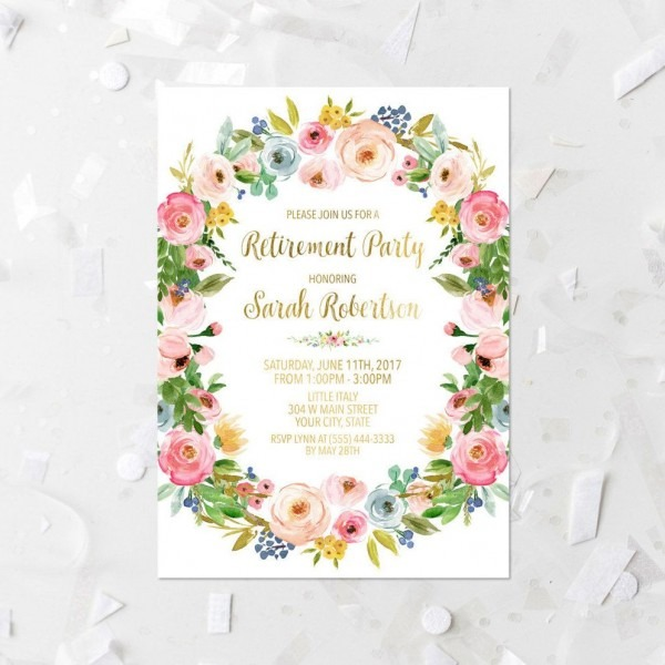 Spring Floral Retirement Party Invitation Printable 5x7 Pink
