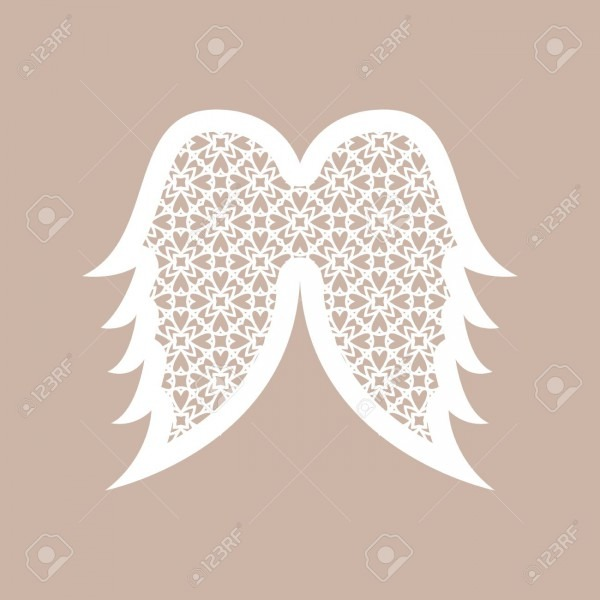 Christmas Angel Wings With Geometric Pattern  Laser Cutting