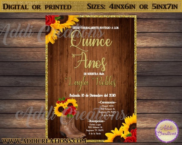 Quinceanera Invitations, Quince Anos Invitations, Mexican Theme
