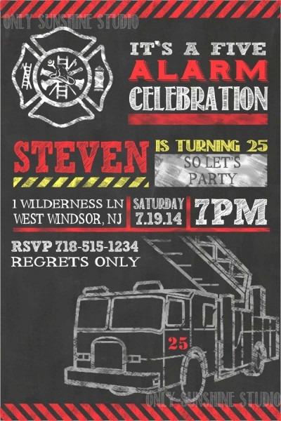 Fireman Printable Invitation, 25th, 30th, 50th, 60th, Birthday
