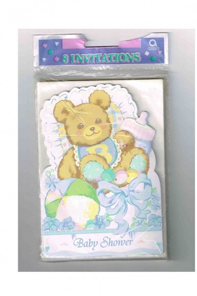 Unopened, Cute Vintage Baby Boy Baby Shower Invitations, 8 Cards