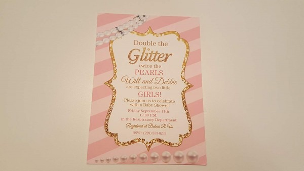 Amazon Com  Pink And Gold Baby Shower Invitations