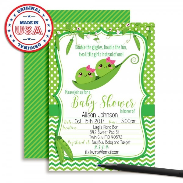 Amazon Com  Two Peas In A Pod Twin Girl Baby Shower Invitations 20
