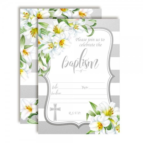 Amazon Com  Silver & White Watercolor Floral Lily Baptism