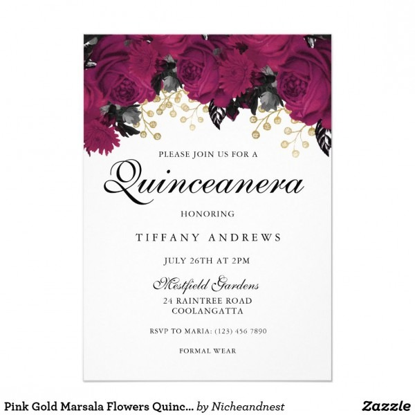 Pink Gold Marsala Flowers Quinceanera Invitation