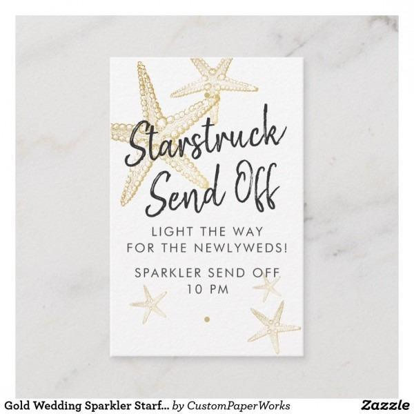 Gold Wedding Sparkler Starfish Send Off Tag