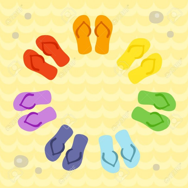 Rainbow Flip Flops In Circle On The Sand  Template For Invitation
