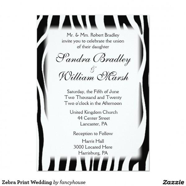 Zebra Print Wedding Invitation