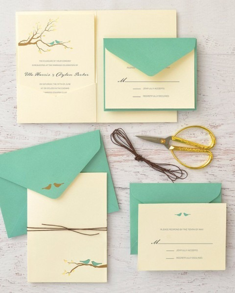 Brides Gold Foil Birds Print At Home Invitation Kit Set Of 30