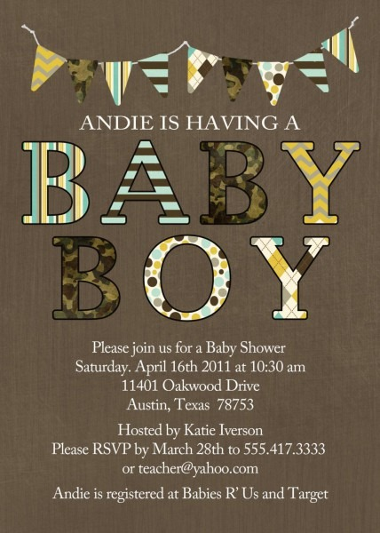 Baby Boy Shower Invitation With Bold Letters And By Katiedidesigns