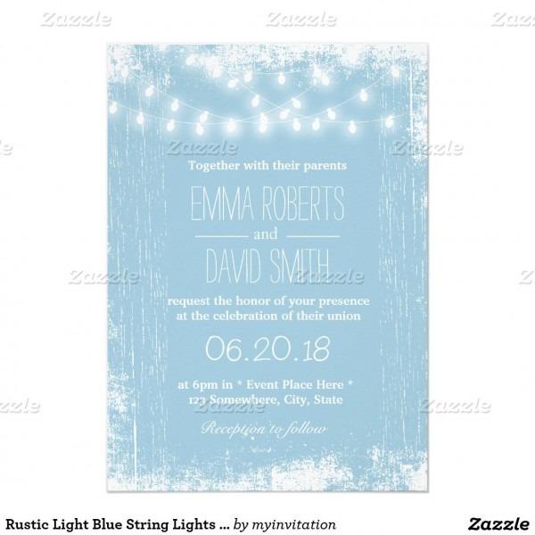 Rustic Light Blue String Lights Wedding Invitation