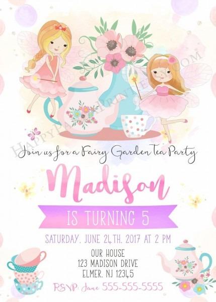 Fairy Tea Party Invitation, Fairy Birthday Invitation, Birthday