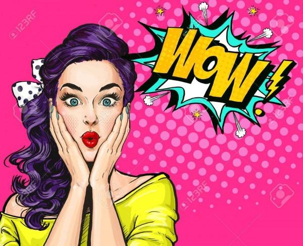 Pop Art Illustration, Surprised Girl Comic Woman  Wow Advertising