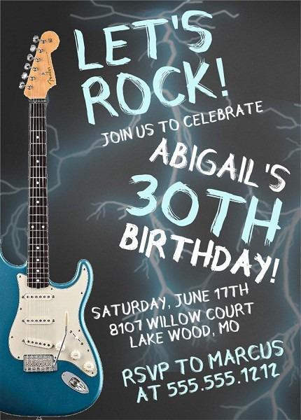 Amazon Com  Guitar Rock & Roll Birthday Party Invitations, Guitar