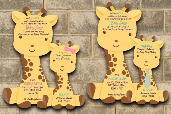 Amazon Com  Custom Printed Giraffe Baby Shower Invitations For